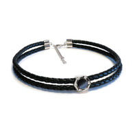 Monte Carlo Onyx Leather Choker
