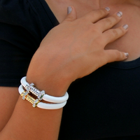 Jazz Screw White Leather with Gold Clasp