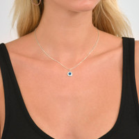 Delicate Evil Eye Necklace Silver