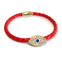 Sapphire Evil Eye Leather Bracelet Gold