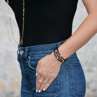 Vacay Quilted Leather Triple Wrap Gold