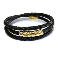 Vacay Bar Leather Triple Wrap Gold