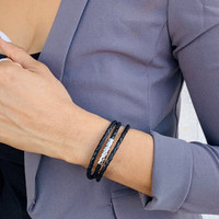 Vacay Quilted Bar Leather Triple Wrap Gold