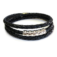 Vacay Bar Leather Triple Wrap Silver
