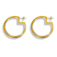 Two-Tone Pac-Man Hoop Earrings