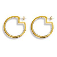 Two-Tone Pac-Man Hoop Earrings
