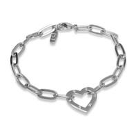 Amour Heart Chain Bracelet Silver