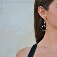 Sterling Silver Amour Earrings Two-Tone