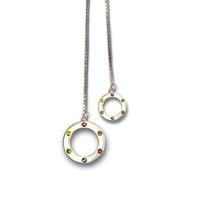 Orbit Lariat Rainbow Necklace Silver