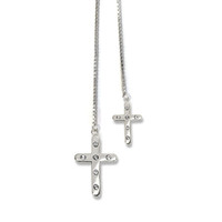 Cross Lariat Necklace Silver