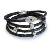Sapphire Evil Eye Stack Silver