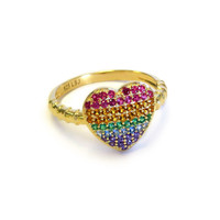 18K Gold over Sterling Silver Rainbow Heart Ring