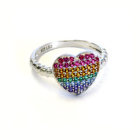 Rainbow Heart Ring Silver