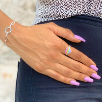 Sterling Silver Rainbow Heart Ring