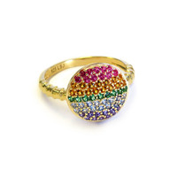 18K Gold over Sterling Silver Rainbow Circle Ring