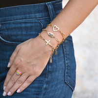 Amour Evil Eye Chain Bracelet Gold