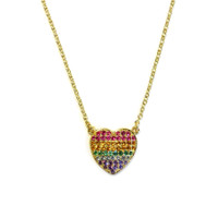 18K Gold over Sterling Silver Rainbow Heart Necklace