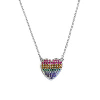 Rainbow Heart Necklace Silver