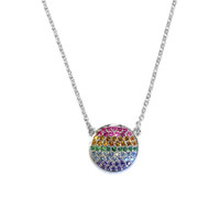 Rainbow Circle Necklace Silver