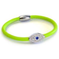 Neon Sapphire Evil Eye Leather Bracelet