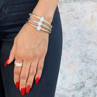 Single Metallic Bedazzle Nappa Leather Bracelet