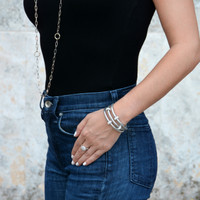 Sobe Metallic Bedazzle Nappa Leather Triple Wrap