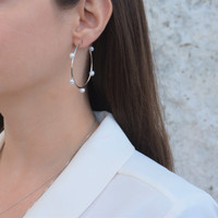 Medium Pearl Hoops Silver