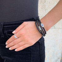 Sterling Silver Sapphire Evil Eye Ring