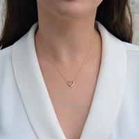 Diamond Heart Necklace Yellow Gold