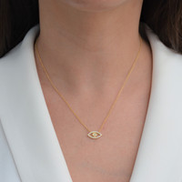 Pave Diamond Evil Eye Necklace Yellow Gold
