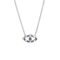 Diamond Sapphire Evil Eye Necklace White Gold