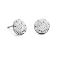 Diamond Circle Stud Earring White Gold