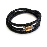 The Sobe Original bracelet for men is a minimalistic piece. Wear it by itself for a carefree, laid-back look or stack it with other bracelets.  Italian Nappa braided leather triple wrap bracelet Easy to use sliver and gold-plated magnetic clasp  Made in U.S.A.