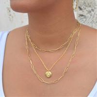 Heart Coin Medallion Necklace