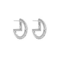 Mini Glitzy Hoop Earrings Silver
