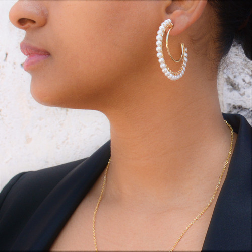 Pearl Double Hoops