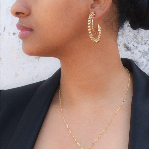 Gold Accented Double Hoops