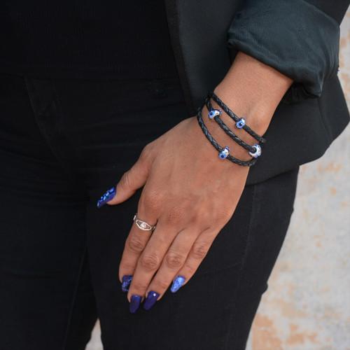 Sterling Silver Evil Eye Eternity Ring