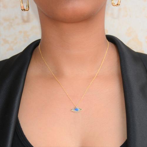 Blue Opal Evil Eye Necklace