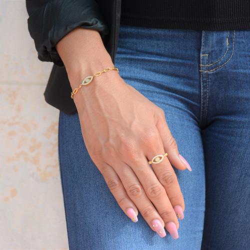 18k  Gold Over Sterling Silver Evil Eye Pave Ring