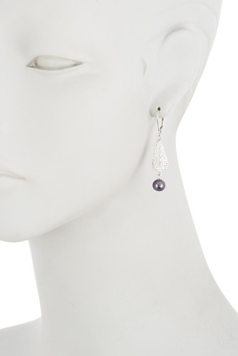 Sterling Silver Deco Drop Grey Pearl