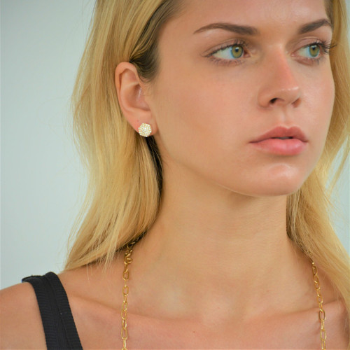 Pave Nut Earring  Gold