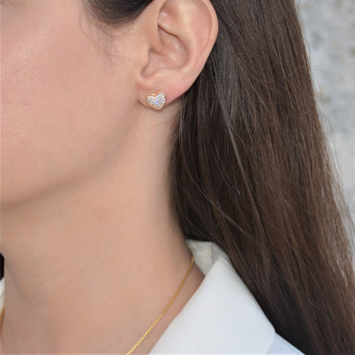 18K Gold over Sterling Silver Touch My Heart Stud Earrings