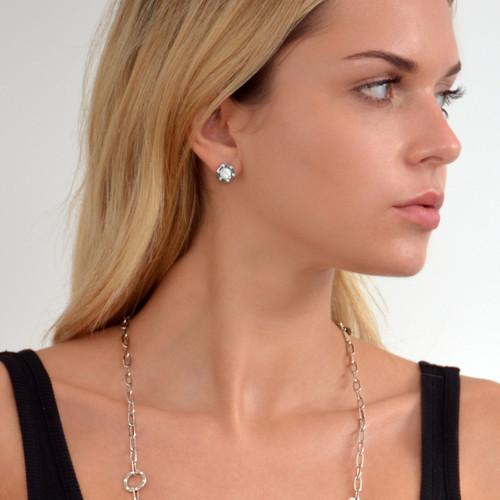 Sterling Silver Monte Carlo Mother of  Pearl Stud Earrings