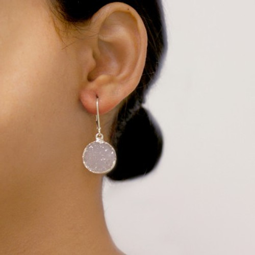 Druzy Earrings Silver Circle Moon