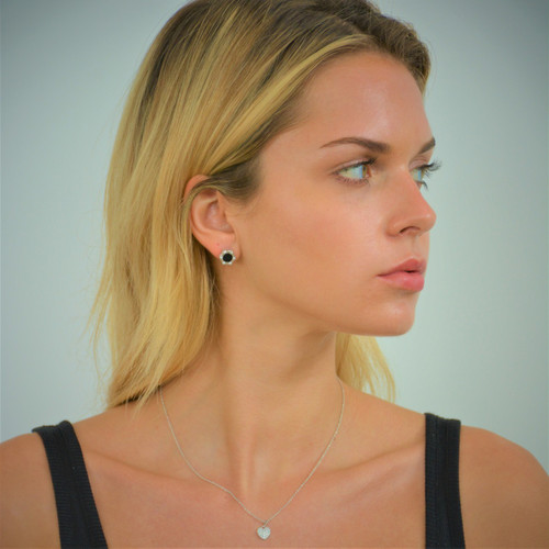 Sterling Silver Monte Carlo Black Onyx Stud Earrings