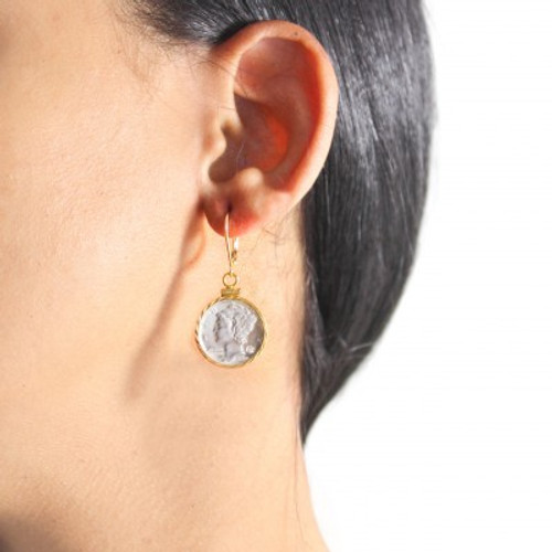 The Silver Mercury Dime Earring with Diamond
