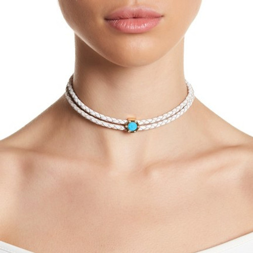 Monte Carlo Turquoise Gold Leather Choker