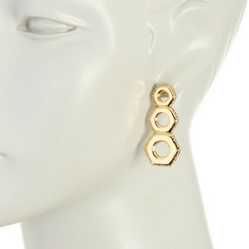 Gold Edge Drop Earrings