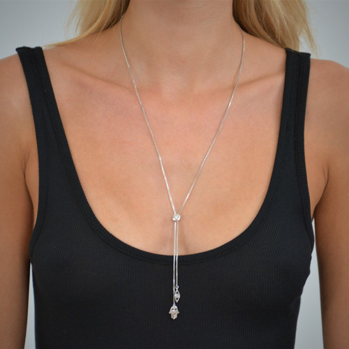 Hamsa Eye Lariat Necklace Silver